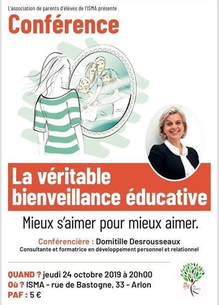 Jeudi 24 octobre à 20h – Salle Champagnat – conférence sur la bienveillance éducative !