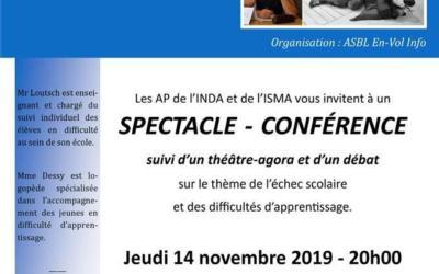"""Jeudi 14 novembre à 20h: spectacle-conférence """"Je suis un élève à problèmes…"""" à l'INDA"""