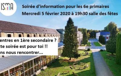 Soirée d'information à destination des élèves de 6ème primaire – mercredi 5 février 2020 – 19h30 – Salle des Fêtes