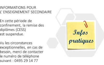 Informations – enseignement secondaire durant la période de confinement