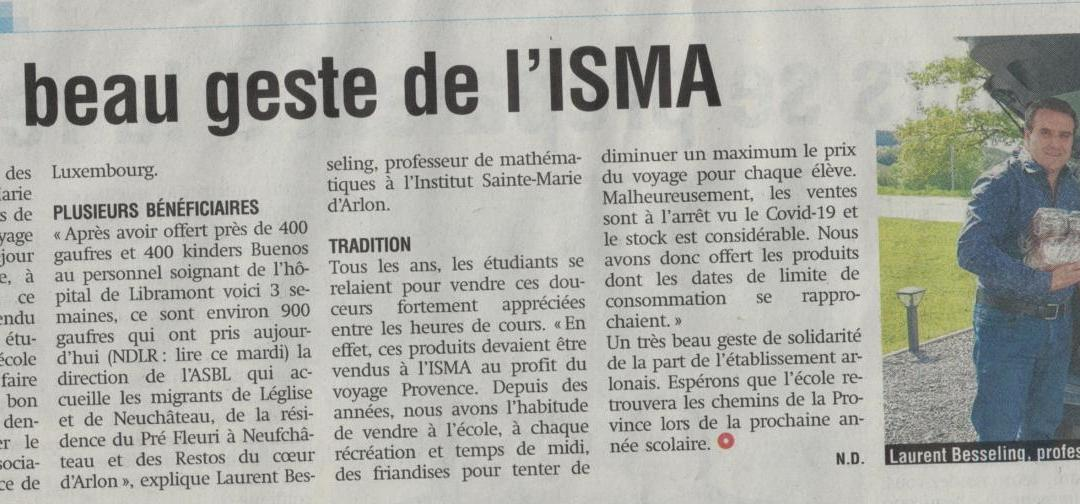 L'ISMA secondaire en mode solidarité !