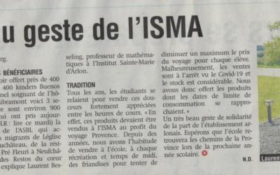 L'ISMA secondaire en mode solidarité !