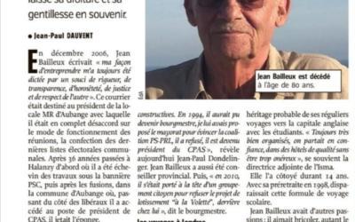 Décès de Jean Bailleux