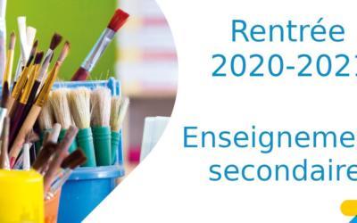 Organisation de la rentrée scolaire 2020-2021 pour nos élèves du secondaire