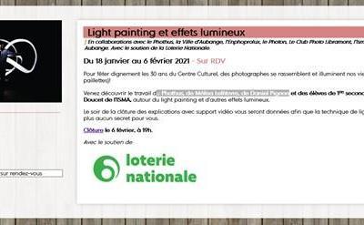 """Exposition """"Light Painting"""" au centre culturel d'Aubange, reprenant des travaux d'élèves !"""
