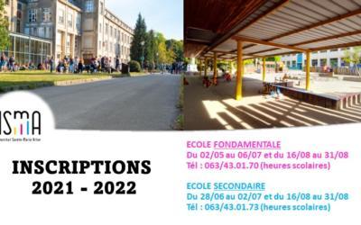 Inscriptions à l'ISMA pour l'année 2021-2022 !