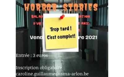 """Soirée """"Horror Stories"""" – vendredi 29/10/21 – à partir de 18h30 (sur inscription)"""